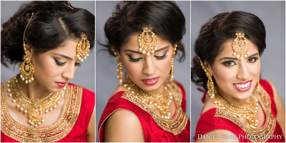 Indian wedding bride in red sari with gold tikka - MUA Glam by Jeet