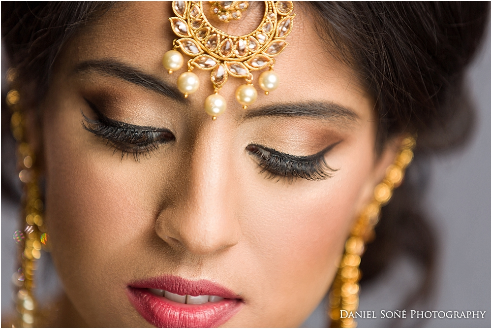 Indian wedding bride with amazing eyelashes and tikka - MUA Glam by Jeet